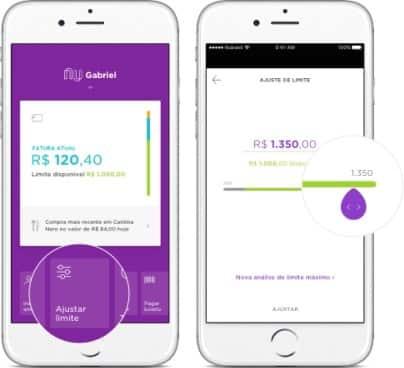 Escolha a opção ajustar limite para ter maior limite no cartão de crédito