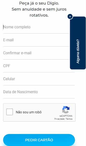 solicitar cartao digio pelo aplicativo