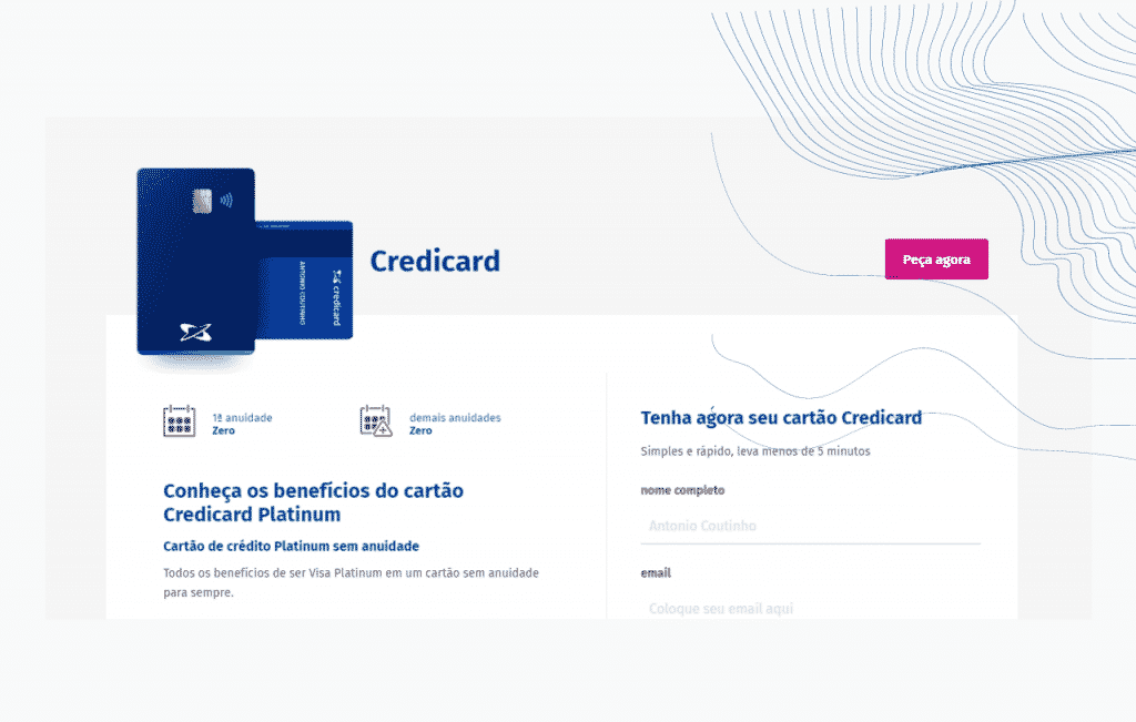 Cartão de crédito Credicard Platinum com anuidade zero página do pedido e conta digital.