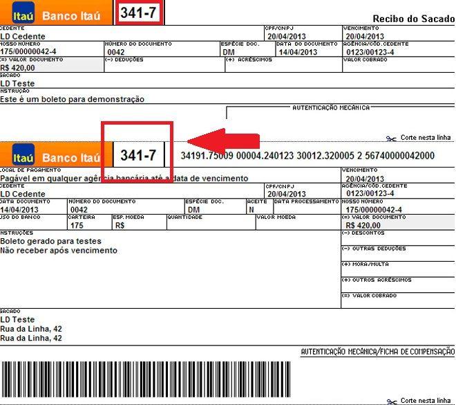 código do banco Itaú nos boletos