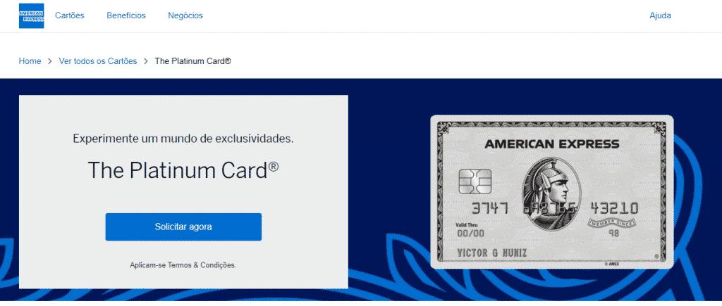 Cartão de crédito American Express Platinum como solicitar, vantagens e benefícios.