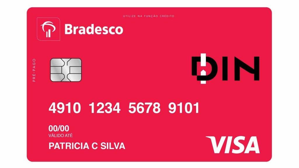 Cartão pré-pago com função de crédito Din do banco Bradesco, produto sem anuidade, cobertura com compra internacional, muitas vantagens benefícios.